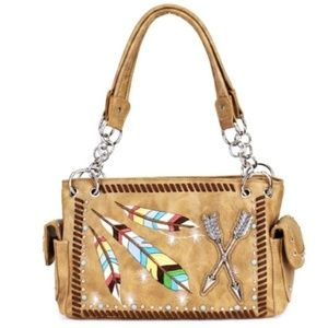 Tan Western Feather & Arrow Conceal Carry Purse